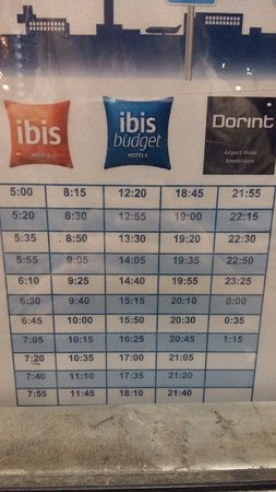 Badhoevedorp, The Netherlands: Это расписание трансфера в аэропорт из отеля