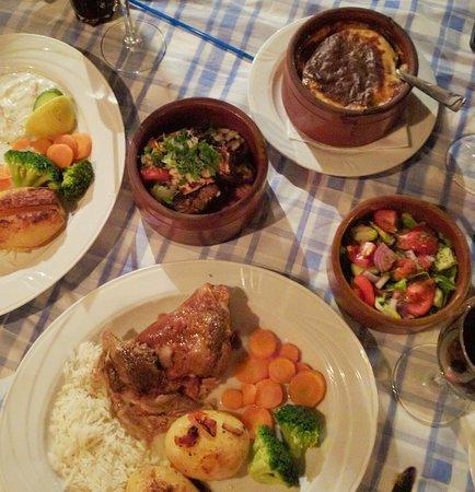 mains moussaka, mixed grill and lamb kleftiko with salad