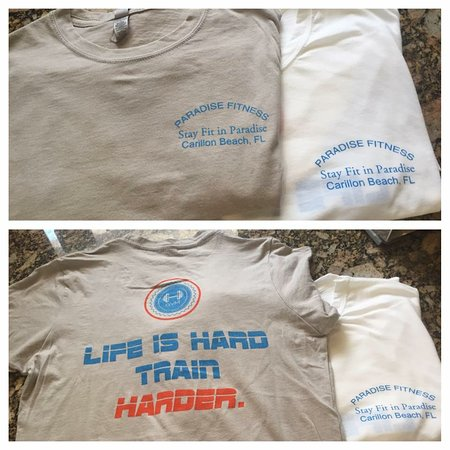 Carillon Beach, FL: Paradise Fitness t-shirts available in white or gray S-XXXL