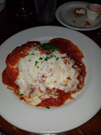 Chicken parmigiana was tasty and large enough to share