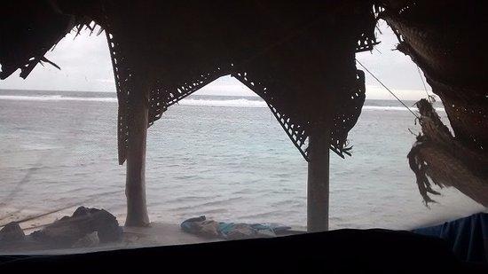 Saleapaga, Σαμόα: Fale. Vista interior (mosquitero incluido)
