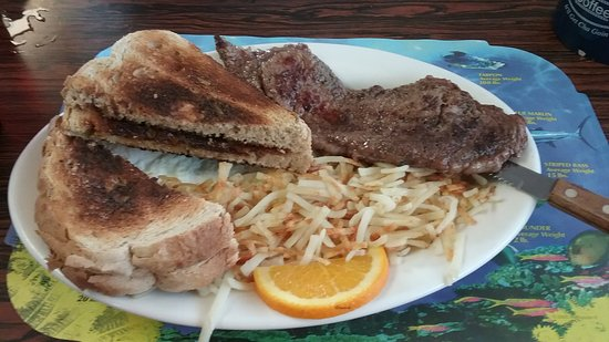 Sharon's Cafe: Steak, eggs, hash browns and toast