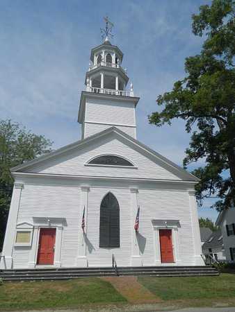 A historic building on the square in the town of Castine