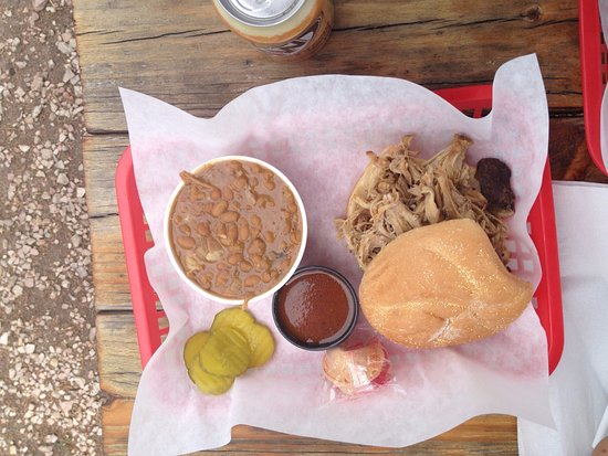 Divide, CO: Pulled pork sandwich with BBQ beans. Both had good flavor.