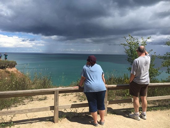Grafton, WI: Looking out at the rain over Lake Michigan from one of the vista points.