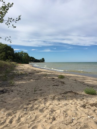Port Sanilac, MI: The private beach to the left.