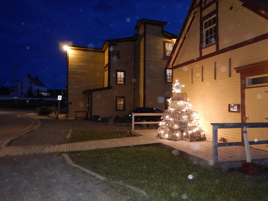 The Harbour Quarters Inn: The lobster traps lit up like a Christmas tree at night.