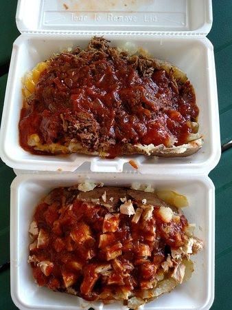 Bellville, TX: These are just a couple of the stuffed baked potatoes available. Chopped brisket and chicken.