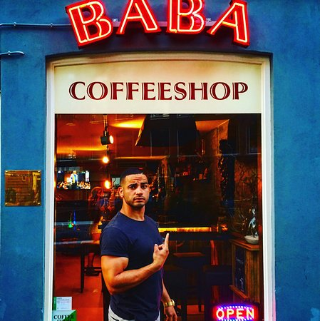 Daveed lands at the Baba Coffeeshop