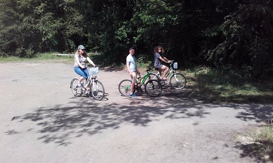 Compiegne, Prancis: Selection of bikes to choose from, free map of the forest showing main cycle paths.