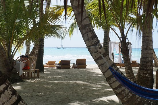 Bayahibe, Dominikanische Republik: La plage de Saona, au loin le Quetzal.