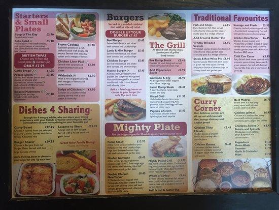 Batley, UK: Standard everyday menu