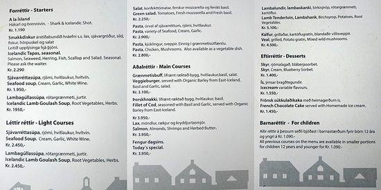 Stykkisholmur, Island: Menu