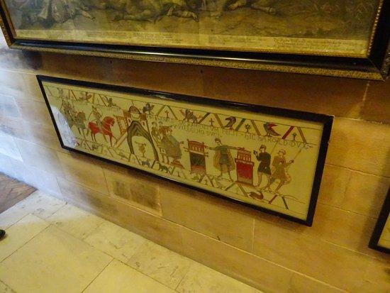 Bamburgh Castle: Tapestries depicting William vs Harold