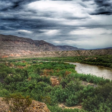 Alpine, TX: Bosquillas overpass looking at Mexico. This is the Rio Grande River