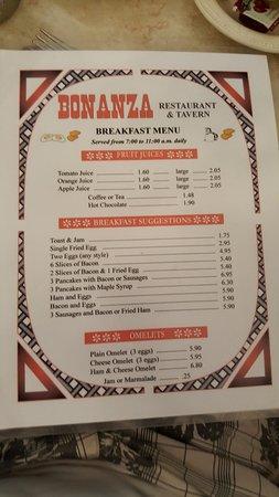 Pembroke, Canada: Breakfast Menu