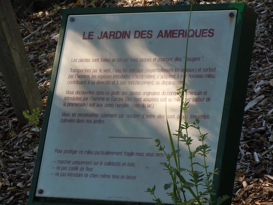 Aulnay-sous-Bois, Frankrig: Panneau explicatif du jardin des Amériques