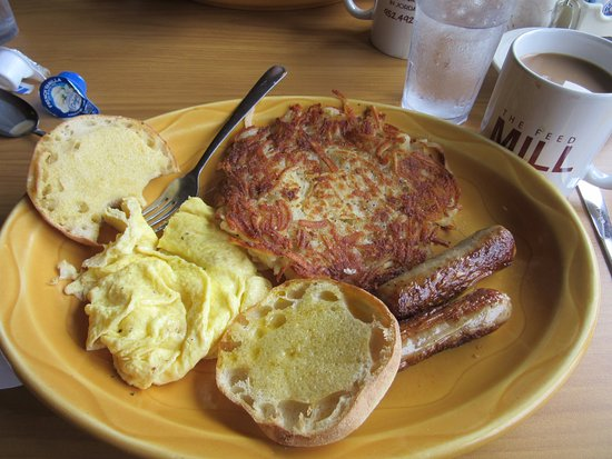 Jordan, MN: large sausage links, lots of hash browns, eggs and english muffin