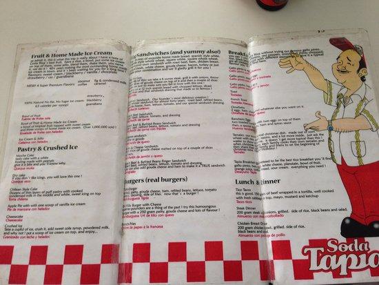Soda Tapia: English menu