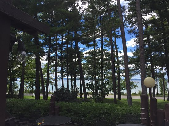 Views of West Grand Traverse Bay through the pines at Mission Table