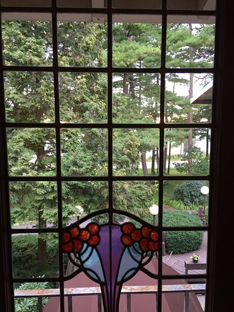 Mission Table: View of beautiful glass windows with stained glass