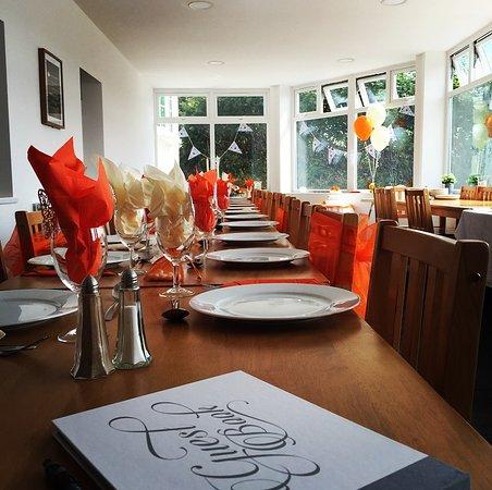 Llanfabon Inn: a simple wedding table- burnt orange decor