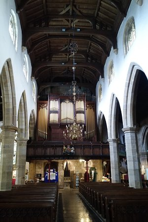 Lancaster, UK: View down the nave to the entrance and the main organ