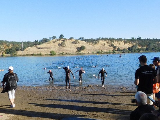 Folsom, CA: Beach area: Wet suits for cold water.
