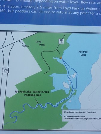 Loyd Park: Map of kayak route.