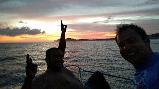 Playa Samara, Costa Rica: Awesome sunset in Samara Deep Sea Fishing🙂