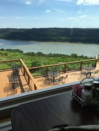 Looking out at the Ohio River from inside The Overlook Restaurant, Leavenworth, IN.