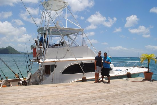 Hackshaw's Boat Charters : Beautiful 'Limited Edition' picked us up right at Sandals Grande's dock
