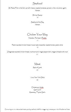 Morganton, NC: Dinner Menu cont.
