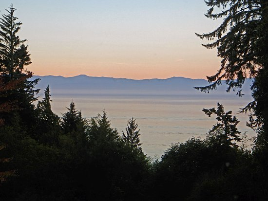 Sooke, Canada: View at sunset from the Sea Glass suite.