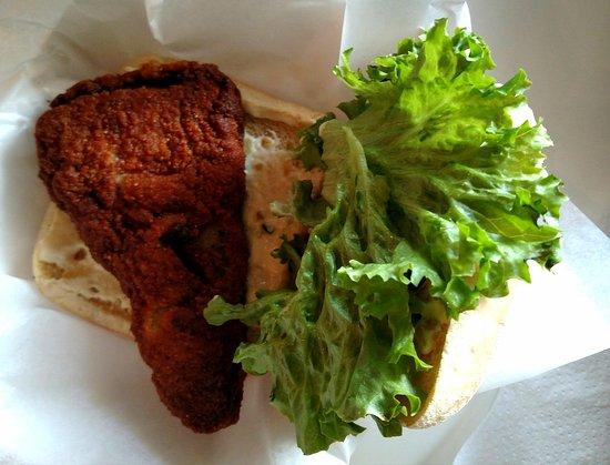 Porky's Hamburgers & Onion Ring Co: Porky's Crispy and Spicy Fish Sandwich on Cibatta Bread