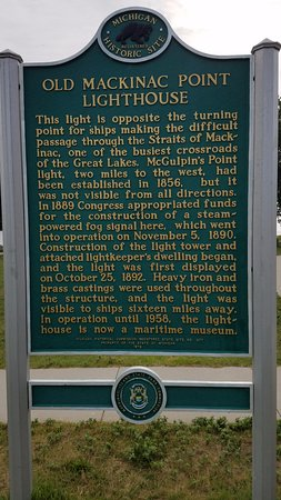 Mackinaw City, MI: Historical marker for the lighthouse.