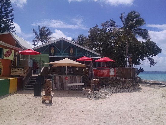 Frederiksted, St. Croix: View of Rhythms from beach. Giant Jenga!!