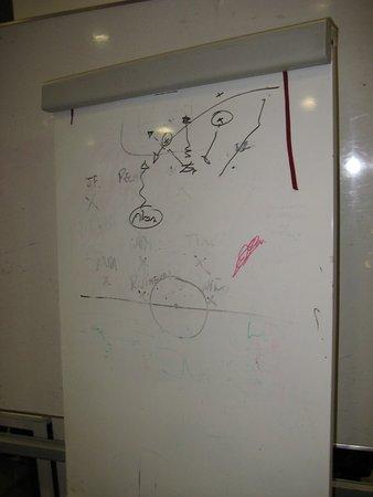 Comunidad de Madrid, España: Diego Simeone's Tactics on Whiteboard in Dressing Room