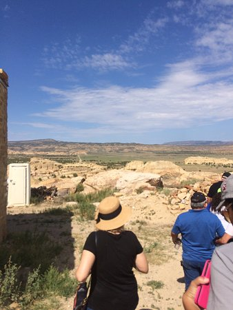 Pueblo of Acoma, NM: Photo of our tour group following our tour guide around Sky City