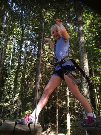 Champery, Svizzera: What a fabulous afternoon in the woods in the high wires. Great afternoon of family fun
