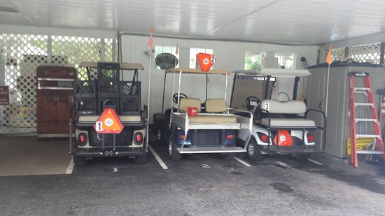 Grand Rivers, KY: Golf carts for guest use around town.