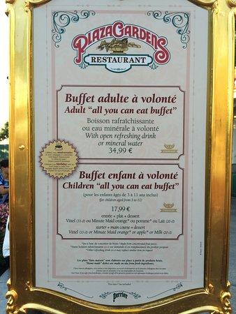Prix Et Detail Du Menu Photo De Plaza Gardens Restaurant Marne La