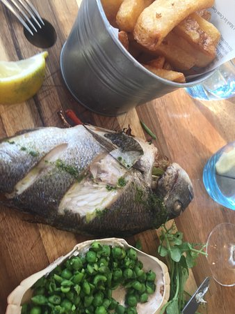 Mawgan Porth, UK: Scallops, Chorizo and Rainbow chard, whole baked Bream with smashed minted peas ... Delicious!