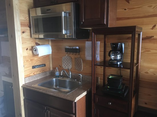 Spanish Fort, AL: Kitchenette fishing cabin at Meaher State Park