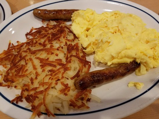 Vista, CA: This dish can come with Red Velvet Pancakes. The wiry hashbrowns go well with pepper, salt.