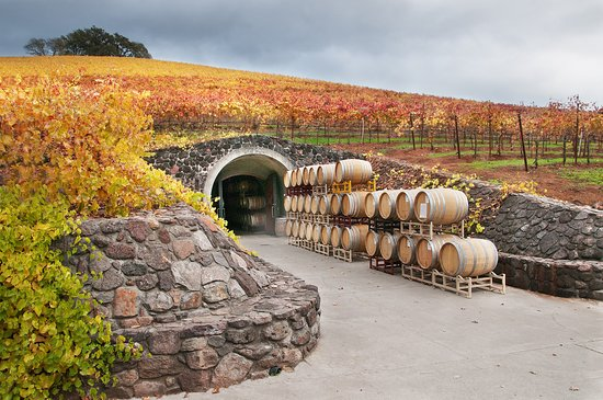 The entrance to the cave at Kunde Winery in Kenwood during the fall months of Sonoma Valley.