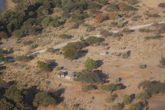 Маун, Ботсвана: vista aérea do delta - zonas de habitação