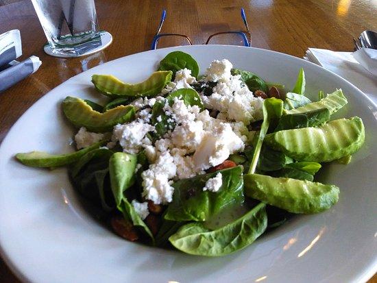 Urban Gate Bar & Grill : Spinach Salad with avacado's, feta cheese, almonds, balsamic lemon vinegarette.