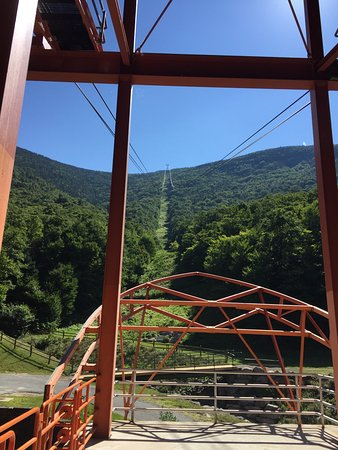 Franconia, NH: A view from the bottom looking up the tramway.