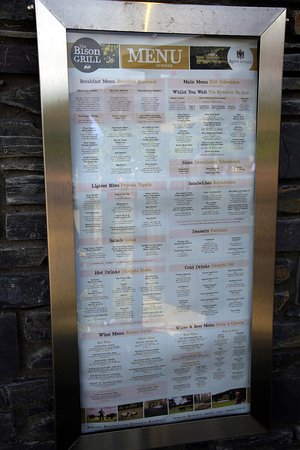 Corwen, UK: Bison Grill Menu board